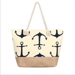 Beige Anchor Tote Bag